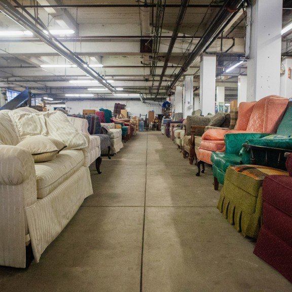 a row of donated couches